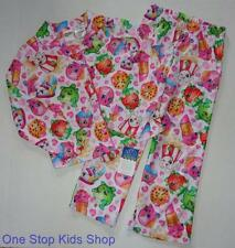 SHOPKINS Girls 4 5 6 6X 7 8 10 12 Pjs Set Flannel PAJAMAS Shirt Pants Strawberry