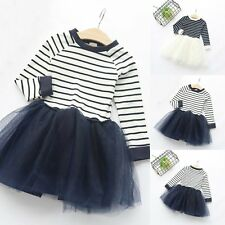 Fashion Baby Girls Kids Long Sleeve Skirt Party Striped Princess Tutu Dress 2-7Y