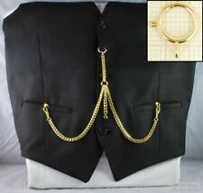 Double Albert pocket watch chain w/ a large spring ring; various finish options