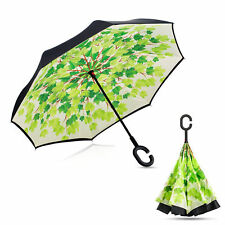 Creative C-Handle Hands-free Double Layer Inverted Inside Out Umbrella