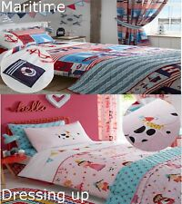 Boys and Girls Childrens Bedding Bundle Duvet Quilt Cover Set,Throwover Curtains