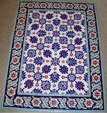 "Turkish Iznik Blue & White Daisy Pattern Border 32""x24"" Ceramic Tile Mural Panel"