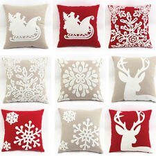"""New 100% Cotton Decorative Christmas Deer Pillows Cover/Cushion Cover 18""""x18"""""""