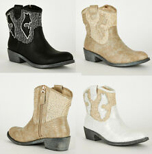 S24 - Ladies Textured / Frosted Leatherette Cowboy Ankle Boots - UK 3 - 7