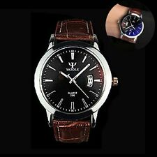 Fashion Men's Date Leather Stainless Steel #M Military Sport Quartz Wrist Watch