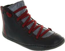Camper Peu Cami Kids Girl's Elasaticated Lace Leather Zip Up Ankle Boots New