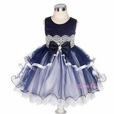 Diamante Lace Tulle Pageant Party Wedding Flower Girl Dress Up Size 9m-4T FG378