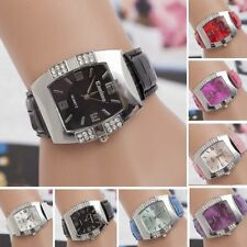New Leather Vogue Women Crystal Dial Quartz Analog Bracelet Luxury Wrist Watch