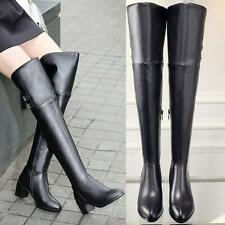 Women New Leather Military Riding Thigh High Buckle Over the Knee Boots Size