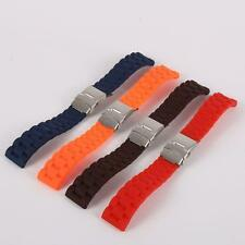 Chic New Mens Silicone Rubber Watch Strap Band Waterproof with Deployment Clasp
