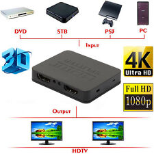 Full HD 4K HDMI Splitter 1X2 2 Port Repeater Amplifier Hub 3D 1080p 1 In 2 Out