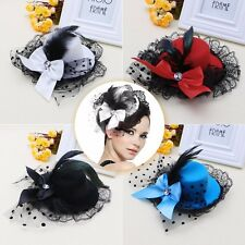 Mini Top Hat Bow Hair Clip Lace Feather Fascinator Burlesque Party Fancy Dress