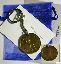 Coin keyring: penny, threepence etc  birthday Christmas gift: choose year lt1a