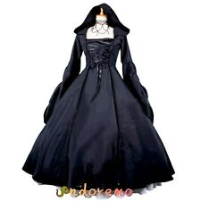 Black Gothic Lolita Dress Medieval Renaissance Victorian Ball Gown Dress Costume