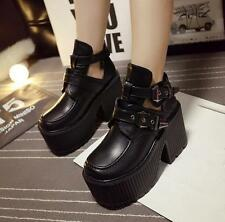 Women's New Punk Gothic Hot Chunky High Heels Platform Buckle Ankle Boots Size