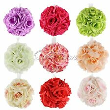 15cm Artificial Silk Rose Kissing Flower Ball Pomander Bouquet Wedding Decor