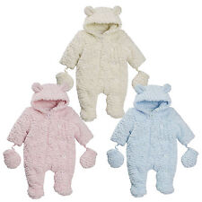 Baby Boys Girls Hooded Snowsuit Soft Feather Fleece Fur Pramsuit Warm Coat Size