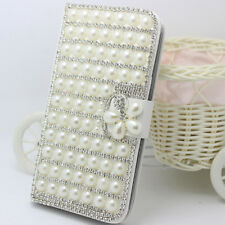 Magnetic Bling Crystal Diamonds Pearls flower PU leather flip Slots Case cover G