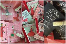 9 Christmas Gift Bag Tags & 9 Clothespins Clips Chalkboard, Pink, Red and Green