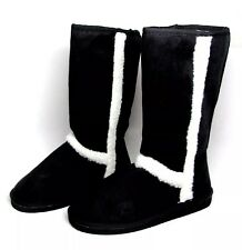 """Womens 12"""" Mid Calf  Boots Black Microsuede Sherpa Trim Size 6-10"""