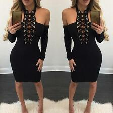 Sexy Women Halter Neck Lace Up Off Shoulder Bodycon Mini Dress Party Clubwear