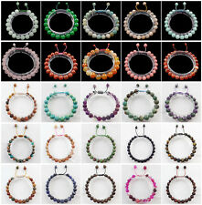 8mm Mixed Stone Hand-knitted Round Beads Adjustable Bracelet 7.5 inch JK88