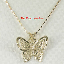 Beautiful Design Butterfly Handcrafted 14k Solid Yellow Gold Pendant Charm TPJ