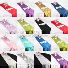 "10 Taffeta Pintuck Table Runner Rectangle 12""x108"" Wedding Party Banquet Decor"