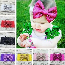 Cute Kids Girl Baby Toddler Sequined Bow Headband Hair Band Accessories Headwear