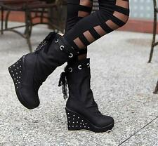 Womens New Lace Bowties Wedges Heels Round Toe High Heels Mid Calf Boots Size