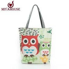 Floral And Owl Printed Canvas Tote Female Casual Beach Bags Large Capacity Women
