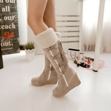 Fashion Scrub Plush Snow Boots Women Wedges Knee-high Slip-resistant Boots Therm