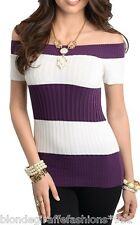 Purple/White Stripe Pullover Boatneck Off Shoulder Ribbed Sweater Knit Top S