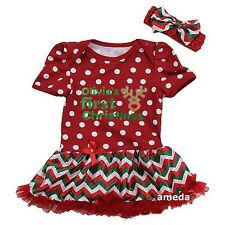 Personalized Name Baby First Christmas Reindeer Red Bodysuit Tutu Dress