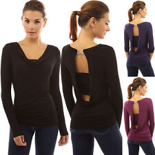 LIUS Women Long Sleeve Cowl Neck Backless Buckle Twinset Tops T-shirts 3 Colors