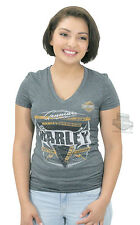Harley-Davidson Ladies B&S Synthetic V-Neck Charcoal Short Sleeve T-Shirt