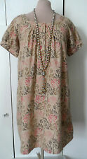 Lovely SALTWATER sz12 Wool Blend Beige with Multi Colour Berry Print Tunic Dress