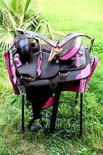 Western Cordura Trail Barrel Pleasure Horse SADDLE Bridle Tack Pink 4982