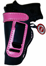 BLACK w/PINK IWB Leather Gun Holster YOUR CHOICE:rh,lh-laser-slide-cant-belt-mag