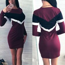 Fashion Women Long Sleeve Splice Bodycon Mini Dress Top Blouse T Shirt Kaftan