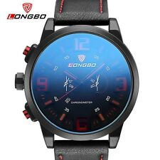 LONGBO Luxury Brand Military Watches Men Quartz Analog Large dial Leather Clock