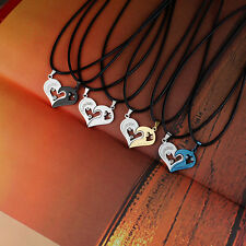 Men Women Stainless Steel Lover Couple Necklace I Love You Heart Pendant Chain