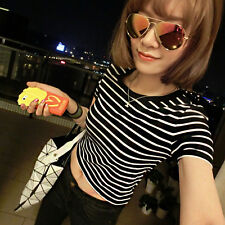 Women Sexy T Shirt Crop Tops Striped Short Sleeved O Neck Blouse Club Wear Top