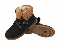 Kids Fur Lined Collar Ankle Boots Boys Girls Infant Warm Winter Casual Shoes UK