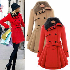 Women Fashion Winter  Fur Collar Double Breasted Trench Coat Warm Slim Overcoat
