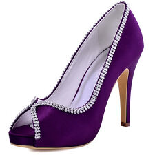 11083 Purple Peep Toe High Heel Rhinestone Satin Prom Party Cocktail Court Shoes