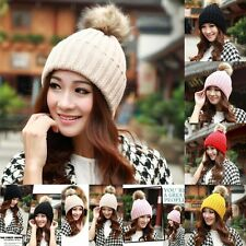 Women Braided Crochet Wool Knit Beanie Beret Ski Ball Cap Baggy Winter Warm Hats