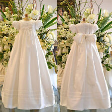 Baby Infant Baptism Dresses Soft Satin Christening Gown Bishop Sleeve Girl Dress
