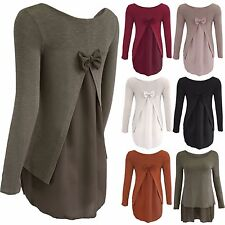 NEW LADIES BOW BACK CHIFFON INSERT FINE KNIT SLEEVED JUMPER WOMENS HILO LOOK TOP
