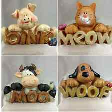 Farmyard Animal with Word Figurines Cow Pig Dog Cat Resin Ornament 13 x 9 cm New